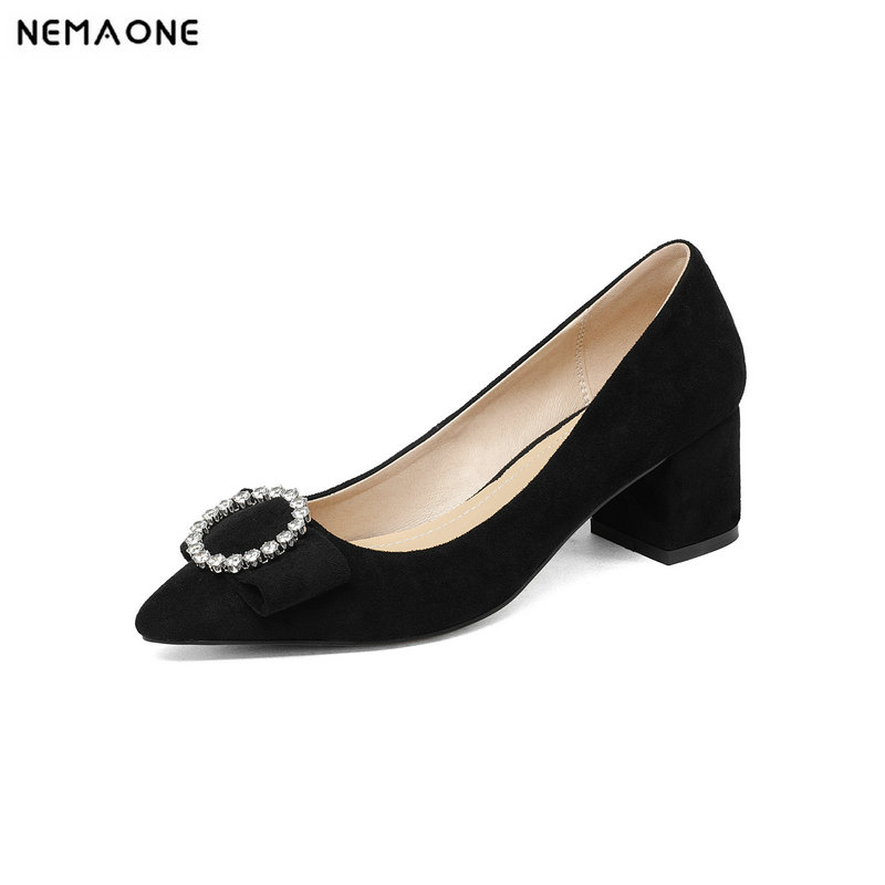 NEMAONE 2018 genuine leather women pumps fashion high heels pointed toe dress shoes woman party office ladies pumps facndinll shoes 2018 new fashion genuine leather women pumps med heels pointed toe shoes woman dress party casual black pumps