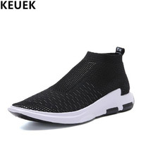 New Arrival Summer Men Casual Shoes Breathable Mesh Cloth Youth Popular Shoes Slip On High Top