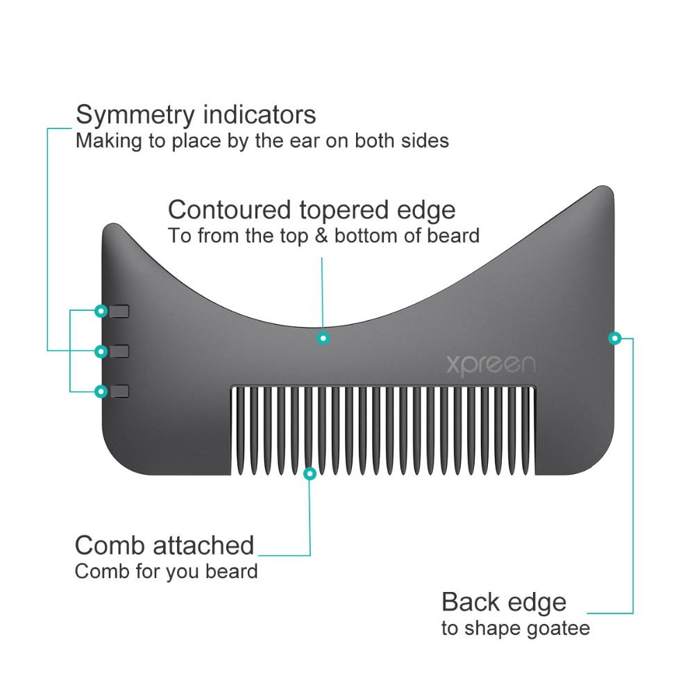 XPREEN 2 Pcs Beard Shaping Template Comb Multi-functional Men's Beard Shaping Trimmers Hair brush Set Mustache Jaw Line Styling 5
