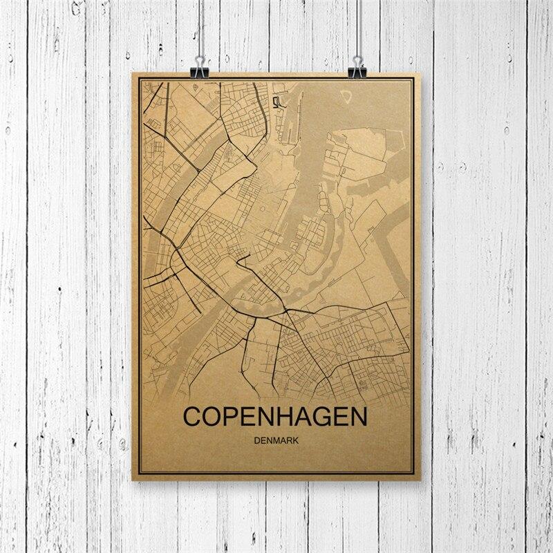 Famous City COPENHAGEN World Map Vintage Poster Retro Painting Krafts Paper Art Wall Picture Home Living Room Cafe Bar Pub Decor