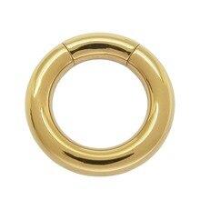 3 mm x 10 mm PVD oro recubierto cuerpo de acero quirúrgico Piercing anillo de segmento