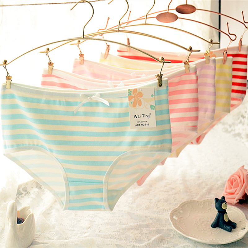 Hot Sale Mid-rise Cotton Panties Women Briefs Striped Bow Cute Vs Pink Women Underwear Sexy Lingerie Women Thong and String
