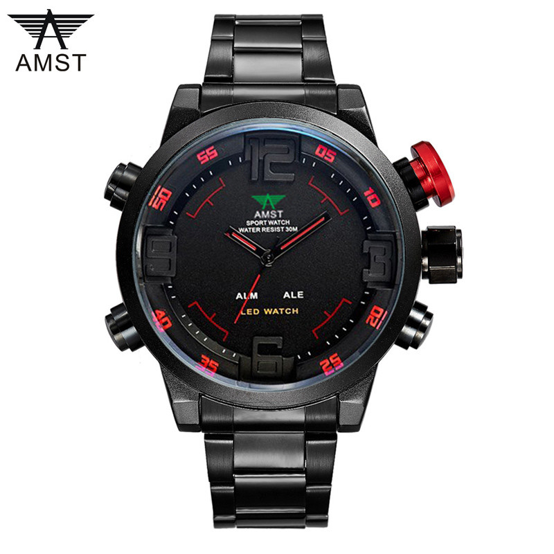 Men Watches AMST Watch Men's Luxury Brand Full Steel Quartz Clock Fashion LED Watch Army Military Sport Watch Relogio Masculino