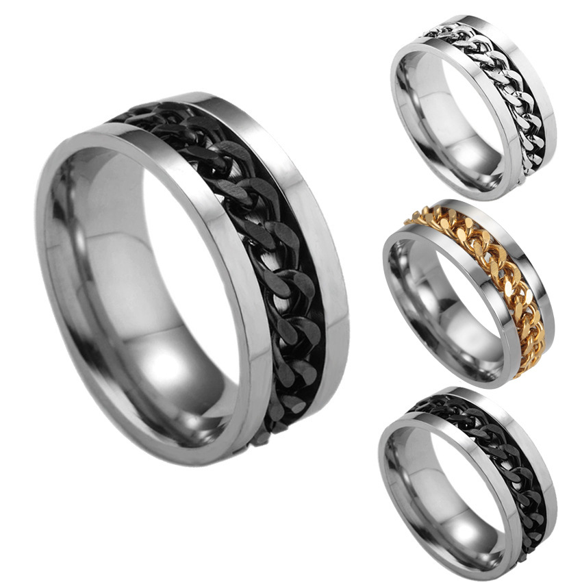 The Punk Rock Accessories Stainless Steel Black Chain Spinner Men's Ring Rings For Men 4 Color punk style hollow out stainless steel crucifix ring for men
