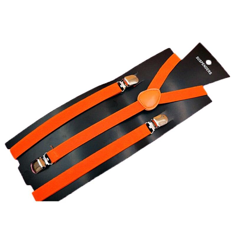 Adult Adjustable Metal Clamp Elastic Suspenders Braces Orange