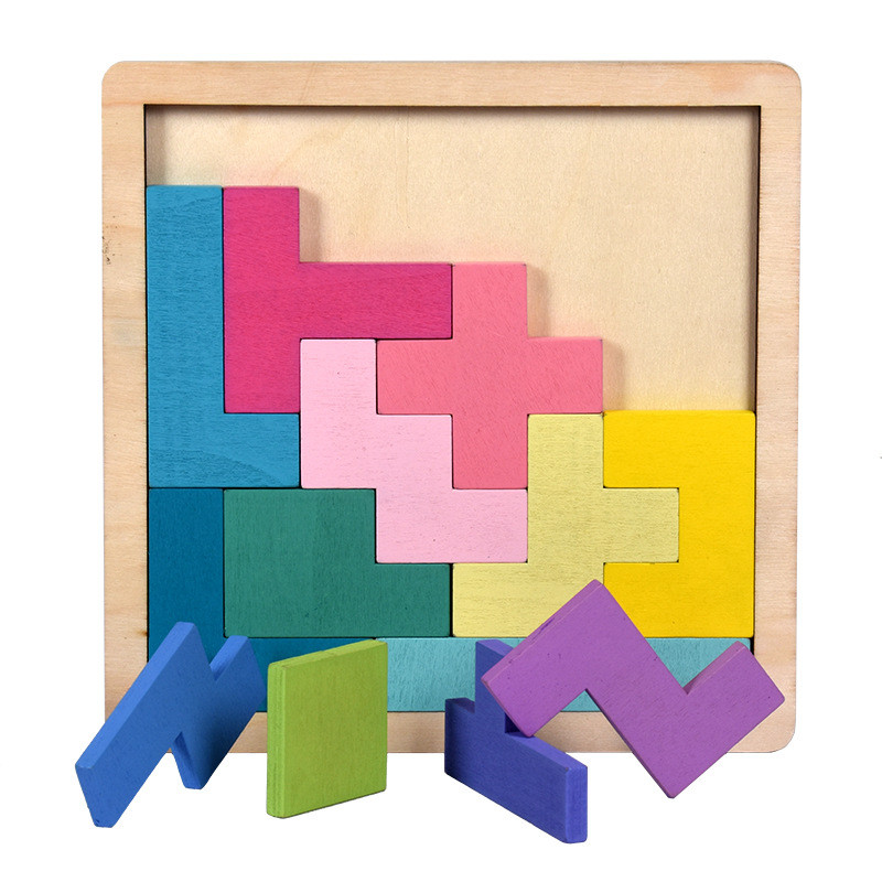 Colorful Wooden Tangram Puzzle Toys Preschool Intellectual Educational Kid Toy