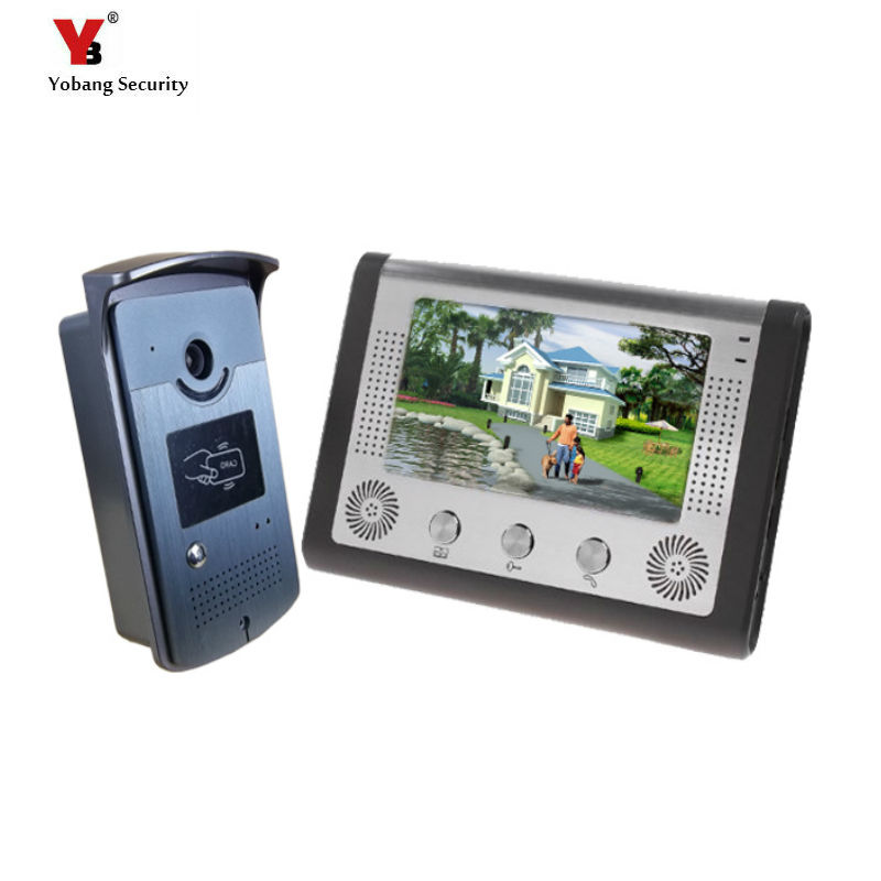 Yobang Security  7 inch Wired Video Door Phone Door Bell System Building intercom equipment Home Security indoor IR camera 2015 7 inch wired video door phone door bell system kit home security entry 2 way intercom ir camera
