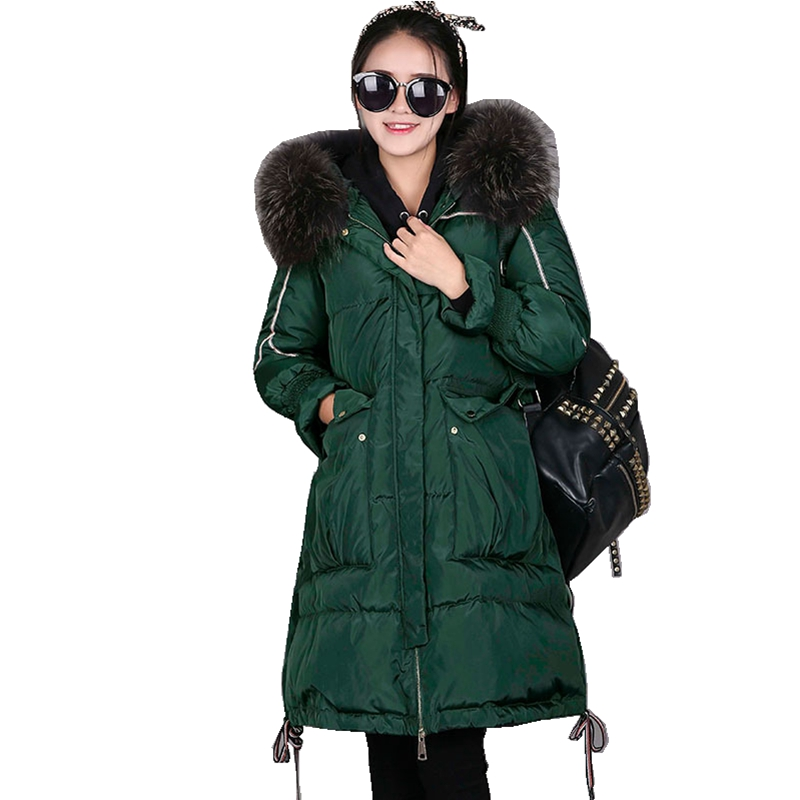 (TopFurMall)European Winter Women Parkas   Down     Coats   Genuine Raccoon Fur Hoody Lady X-Long Outwear Overcoat LF5167