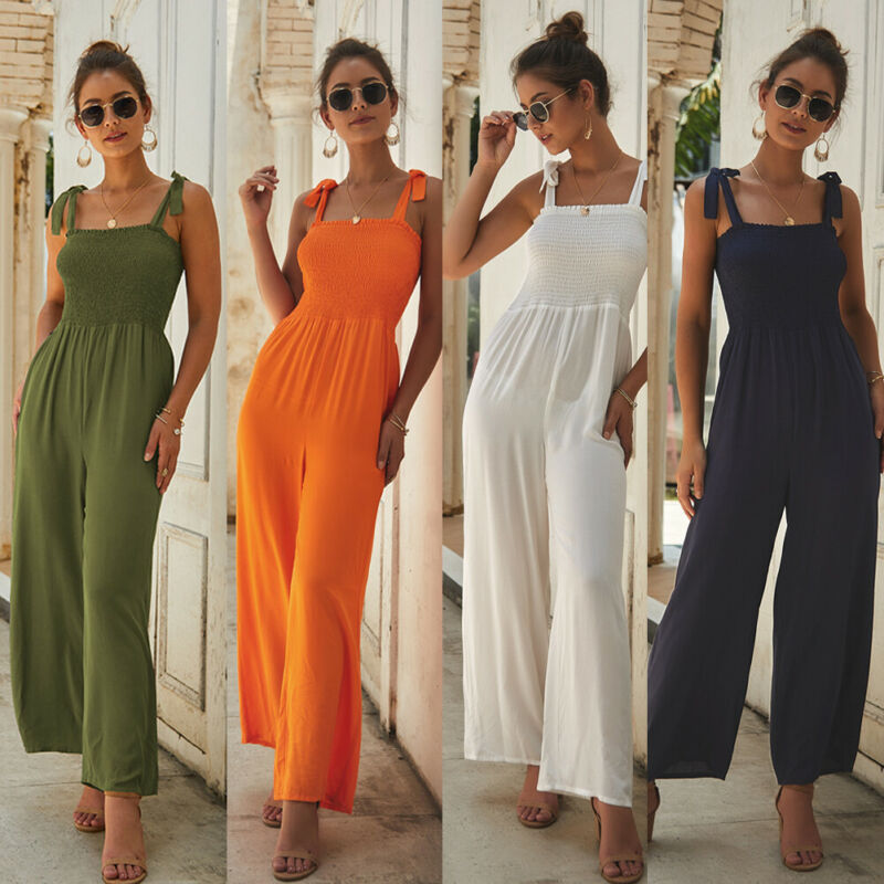 2019 New Women's Summer Playsuit Party Jumpsuit Romper Sleeveless Lace Up Long Trousers Pants Clubwear Summer