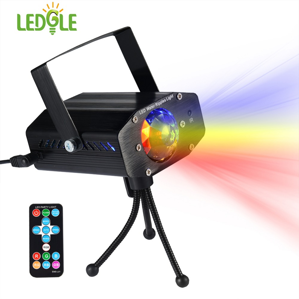 LEDGLE Portable Water Wave Lights Compact Ripple Projector with Remote Controller 3 Lighting Modes Various Color Sound Activated-in LED Night Lights from Lights & Lighting