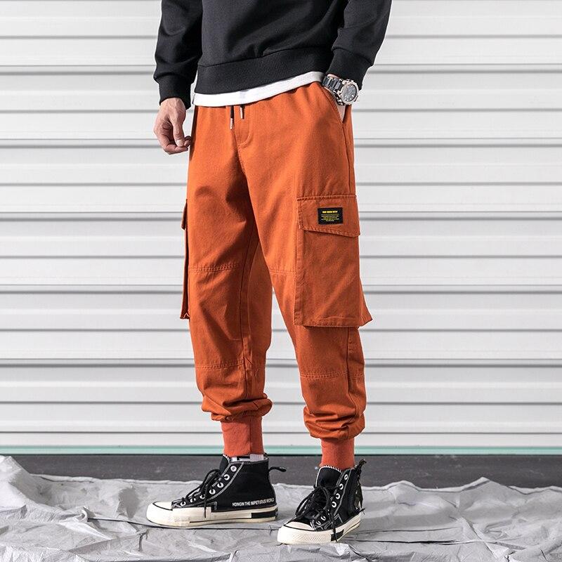 Calças dos Homens Tornozelo com Banda Primavera Carga Algodão Confortável Joggers Calças Laranja Preto Muitos Bolsos Homem Casual A913