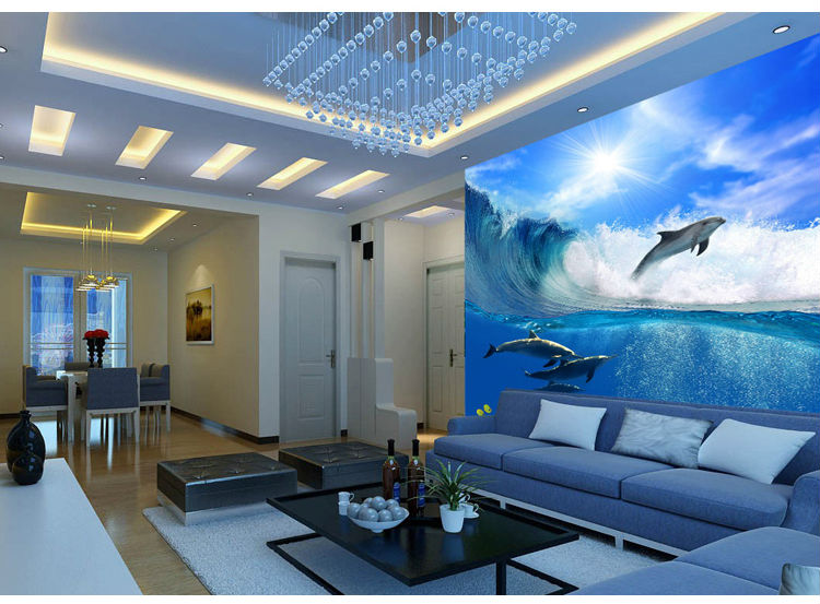 ... Ocean Dolphin Wallpaper Custom 3D Wall Murals Underwater World Photo  Wallpaper Kid Interior Bedroom Room Decor ...