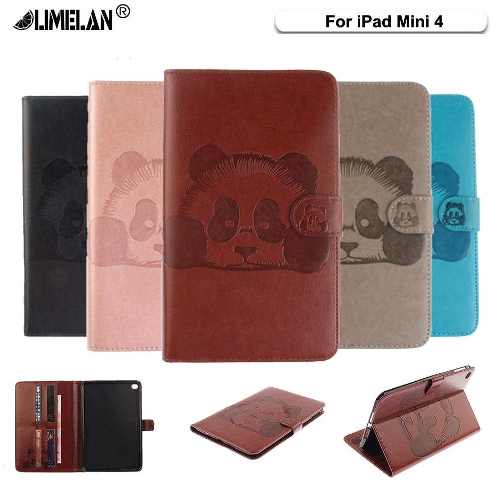 Limelan для iPad мини 4 Чехол роскошные панда из искусственной кожи принципиально для Apple iPad mini4 Cover Магнитный стенд В виде ракушки