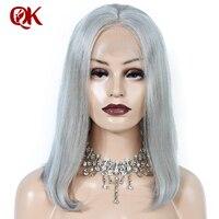 Queenking волос 250% Плотность 13x4 серый пепельный блондин Волосы remy короткий парик человеческих волос Боб Синтетические волосы на кружеве парики