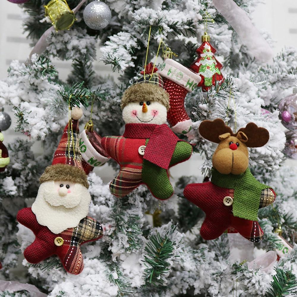 Christmas Tree In Garden: Christmas Tree Hanging Ornament Snowman Reindeer Santa