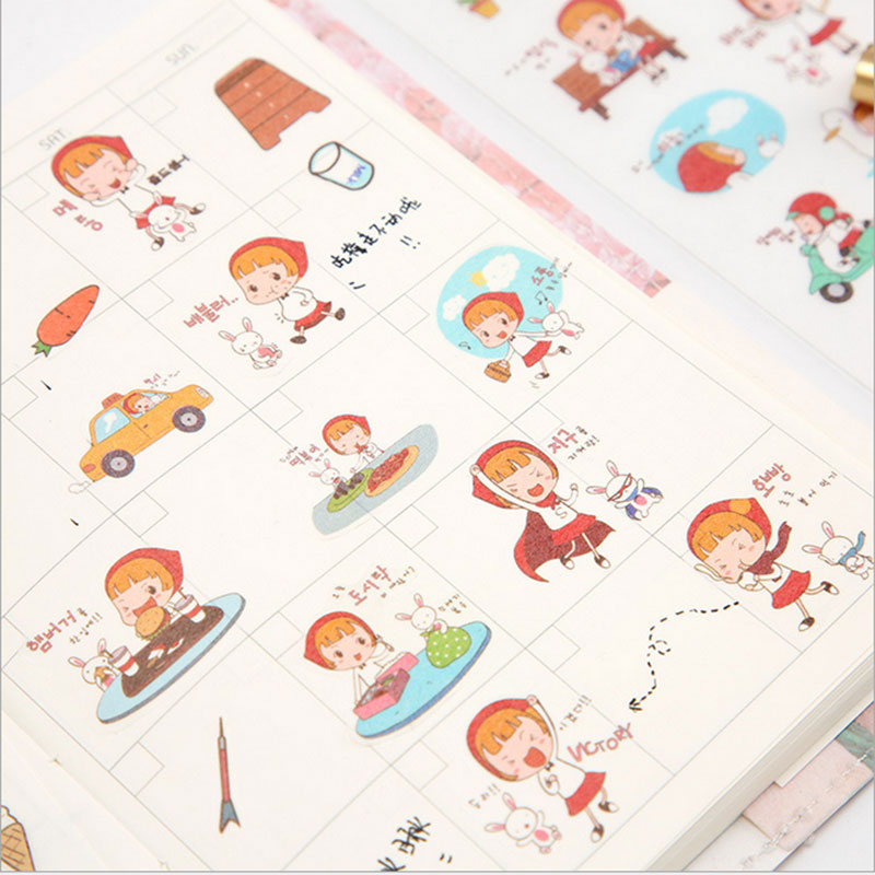 6pcs/lot Little Red Riding Hood children Paper diy Decorative Sticker Diary Album Label Scrapbooking Stationery