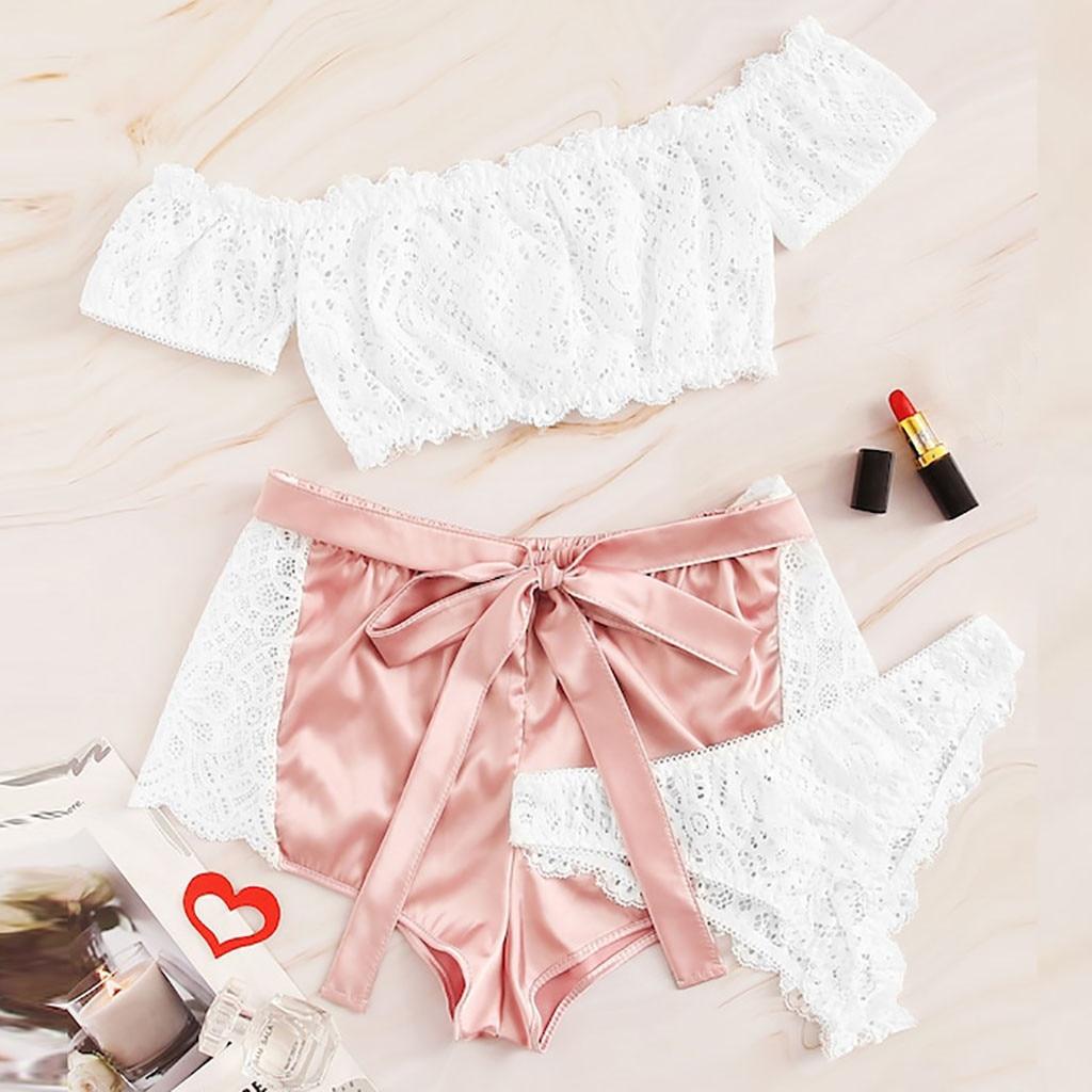 3pcs   Pajamas     Set   Crop Tops+Short+Briefs Lace Satin Sexy Sleepwear Sweet Cute Pink Nightwear 2019 New Pijamas Feminino