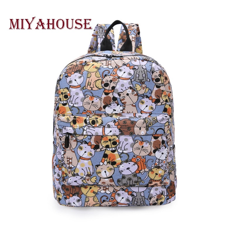 Miyahouse Cats Printed Canvas School Backpack Ladies Casual Backpack for Teenage Girls Preppy Style Rucksack  School Bags