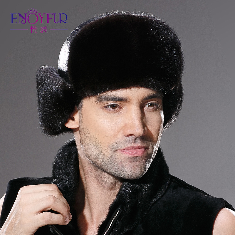 ENJOYFUR Winter Men genuine leather fur hat real natural mink fur ear protection caps new arrivel
