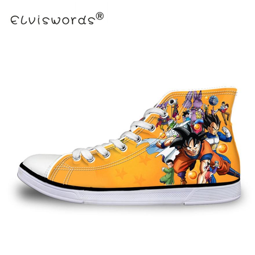 ELVISWORDS Dragon Ball Z Print Mens High-top Vulcanized Shoes Cool Super Saiyan Son Goku Canvas Flats Sneakers for Men Boy