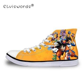 ELVISWORDS dragon topu Z Baskı Erkek Yüksek top vulkanize ayakkabı Serin Süper Saiyan Son Goku Tuval Flats Sneakers Erkekler Boy için