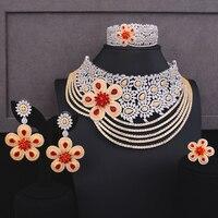 Godki роскошный цветок большой ленточки себе комплекты ювелирных изделий для женщин Свадебные африканские кубический циркон CZ Дубай Свадебн