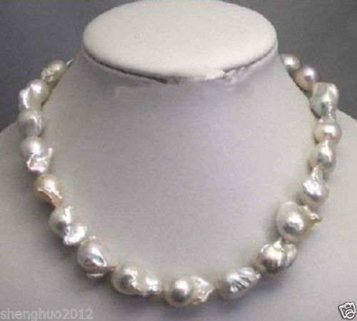 Free shipping@@@@@ Large 15--23mm White Unusual Baroque Pearl Necklace disc Clasp 18