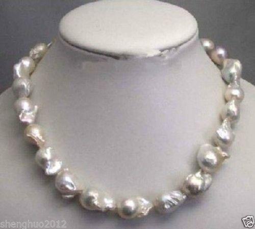 Livraison gratuite @ @ @ @ @ Large 15 -- 23mm collier de perles baroques blanc inhabituel fermoir à disque 18