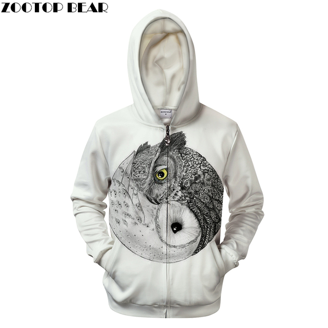 34398289e52f Ying Yang Owl Prints Hoodie 3D Zip Tracksuit White Mens Hoodies Mens Zipper  Clothing Pullover Sweatshirts DropShip ZOOTOP BEAR