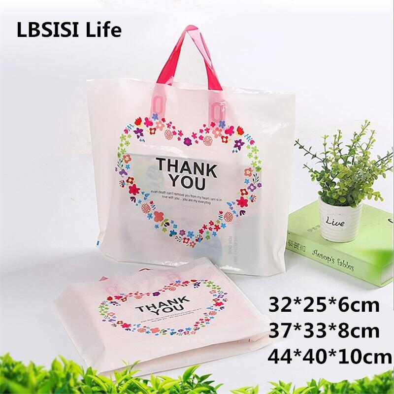 50pcs White Thank You Plastic Gift Handbag For Children's Gift Women's Clothing Thick Gift Packing Bag High Quality Gift Bags
