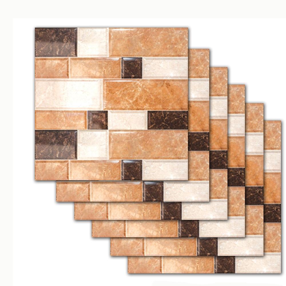 Us 3 53 36 Off 6pcs Set Marble Brick Pattern Tile Floor Wall Sticker Kitchen Bathroom Tiles Decoration Art Mural Waist Line Vinyl Decal In