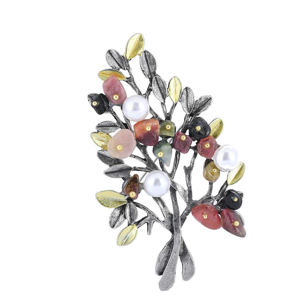 Fashion Flower Bros Perhiasan Batu Alam Bros Mutiara Imitasi Bros Untuk Wanita pin Gesper Pesta Pernikahan Bouquet 1631