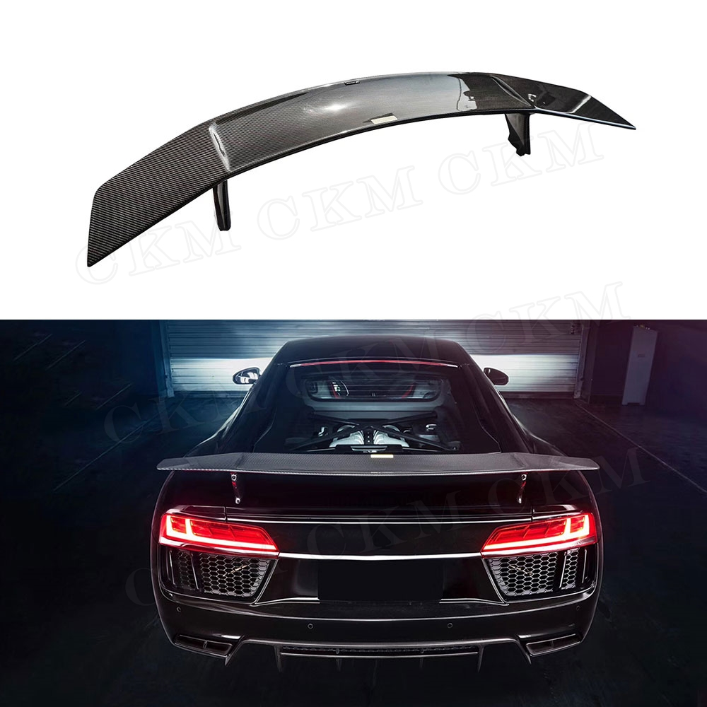 Dry Carbon Rear Trunk Boot Spoiler Wing for Audi R8 2018 2019 Carbon Fiber Auto Racing Spoiler Car Styling|Bumpers| |  -