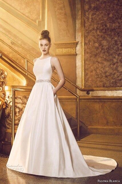Elegant Beige Wedding Dresses 2017 Backless A Line Satin Guest Gown Women Marry Vestido