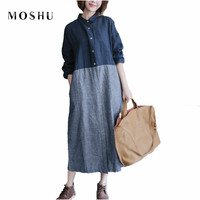 Vintage Patchwork Women Cotton Linen Dress Casual Striped Shirt Long Dress Female Summer Dresses Elegant Breathable
