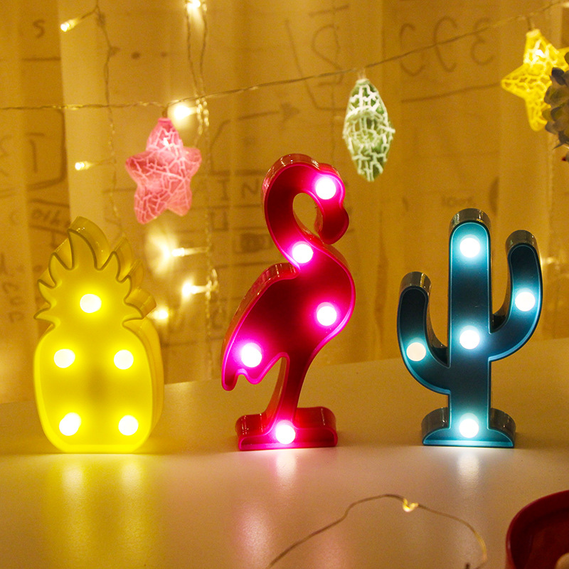 1Pcs LED Mini Night Lights Flamingo Pineapple Cactus 3D Lights Festival Bedroom Party Decor Kids Baby Birthday Christmas Gift (5)