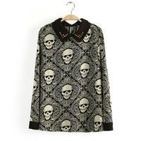 Hot Womens Casual Full Sleeve Rivet Collar Skull Print Blouses For Female Fashion Vintage Long Sleeve