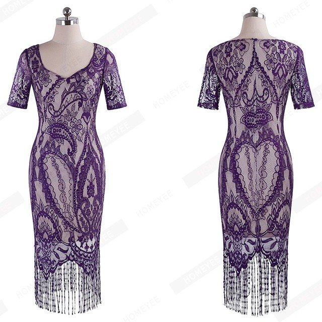 Women Summer Vintage Elagant Ladylike Fringe Tassel Hemline Graphic Flower Lace Pattern Short Sleeve Sheath Bodycon Dress