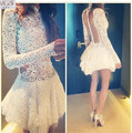 New Arrival  2016 MGS A-Line White Ivory High Neck Lace Appliqued Short Mini Cocktail Dresses Long Sleeves Backless Party Gown