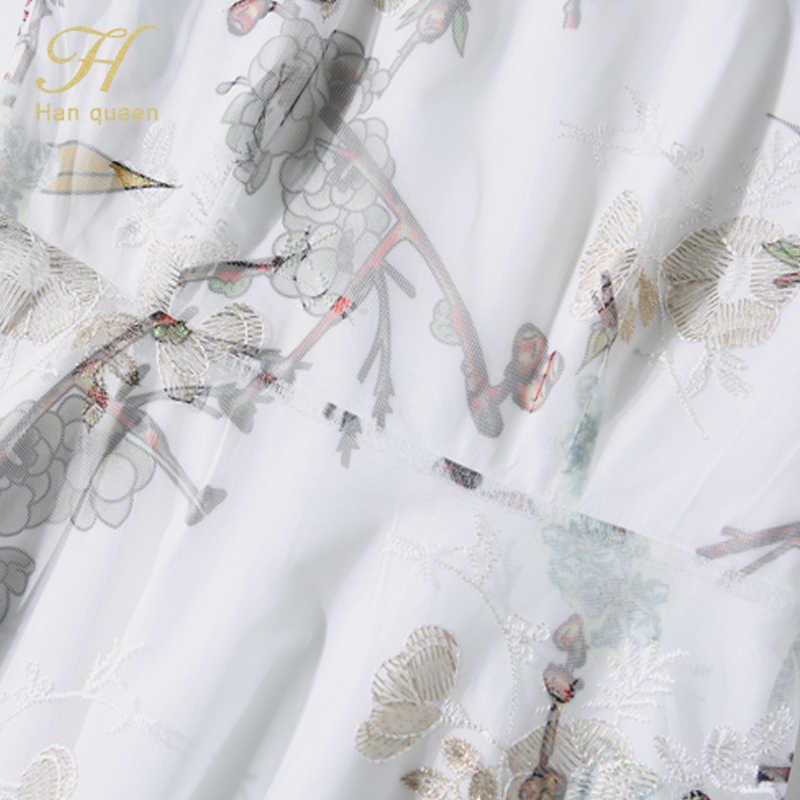 H Han Queen blanc/noir robe d'été femmes o-cou travail décontracté travail robes de soirée Sexy a-ligne Vintage fleur broderie robes