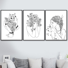 цена на Woman Flower Nordic Poster And Prints Wall Art Canvas Painting Black White Scandinavian Wall Pictures For Living Room Home Decor