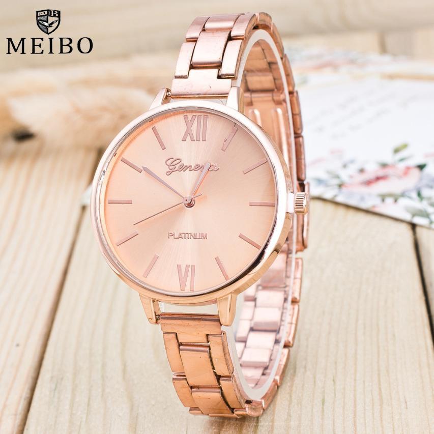 Rose Gold Mesh Belt Women Watches Casual  Men's Bussiness Quartz-watch Fine Stainless Steel Wristwatch Clock Relojes Hombre 2017
