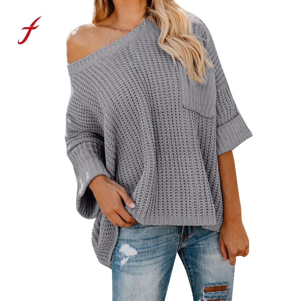 2018 Women Sweaters And Pullovers Autumn Knitted Lanlern Sleeve Wrap Front Loose Elastic Sweater Pullover roupas Femininas