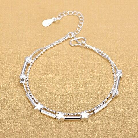 Изящные двухслойные браслеты шармы из стерлингового серебра