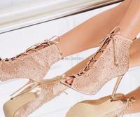 Hot Sale Women Open Toe Stiletto Rhinestone Lady Party Dress High Heels Pumps Shoes Cut Outs
