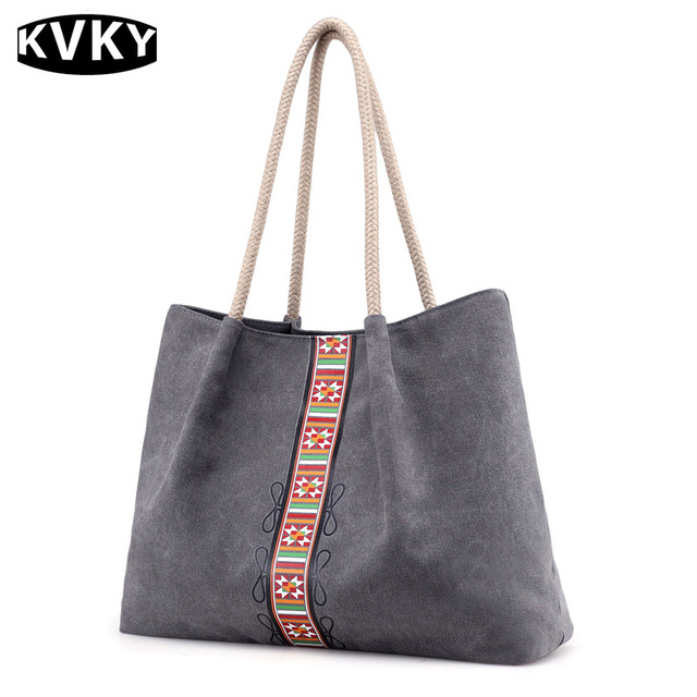 KVKY New Canvas Bags For Women 2018 Fashion Printing Ladies Hand bag  National Style Large Capacity 5d81938120851