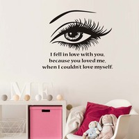I Fell In Love With You Beautiful Eye Wall Stickers For Living Room Vinyl Removable Self Adhesive Wallpaper Decals Home Decor
