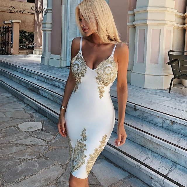 Deer Lady Sexy Woman Bandage Dress 2019 New Arrivals Summer Embroidered Flower Bandage Dress White Celebrity Party Dress Bodycon