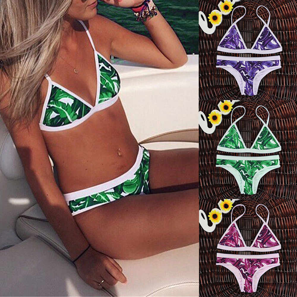 Womail Swimwear Das Mulheres de 2018 folhas Impresso Conjunto Bikini Sexy Swimsuit Push Up Bra Acolchoado Natação terno maio feminino praia # YY14