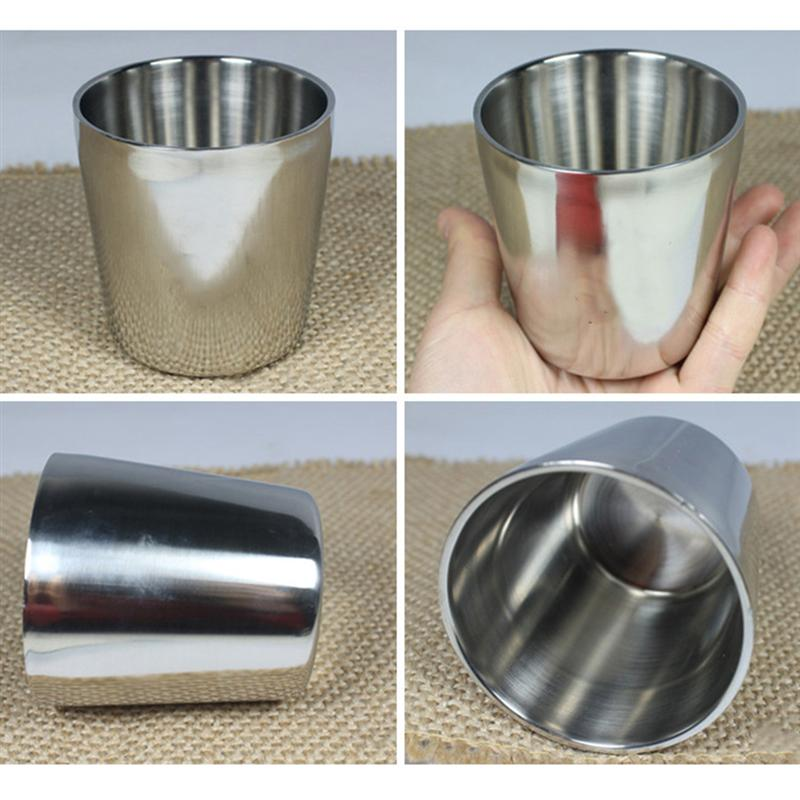 1 PC 175ML Stainless Steel Cup Double Layer Coffee Cup Insulation Anti Hot Beer Water Mug For Home Office Bar Outdoor Camping in Mugs from Home Garden